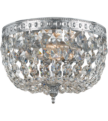 Crystorama 708-CH-CL-SAQ Signature 2 Light 8 inch Polished Chrome Flush Mount Ceiling Light in Swarovski Spectra (SAQ), Polished Chrome (CH) photo