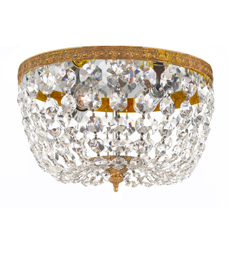 Crystorama 708-OB-CL-SAQ Signature 2 Light 8 inch Olde Brass Flush Mount Ceiling Light in Swarovski Spectra (SAQ), Olde Brass (OB) photo