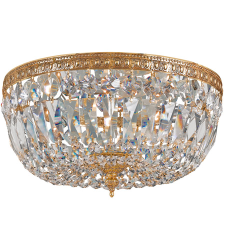 Crystorama 712-OB-CL-SAQ Signature 3 Light 12 inch Olde Brass Flush Mount Ceiling Light in Swarovski Spectra (SAQ), Olde Brass (OB) photo