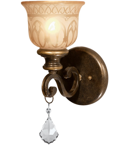 Crystorama Norwalk 1 Light Wall Sconce in Bronze Umber, Clear Crystal, Swarovski Spectra 7501-BU-CL-SAQ photo