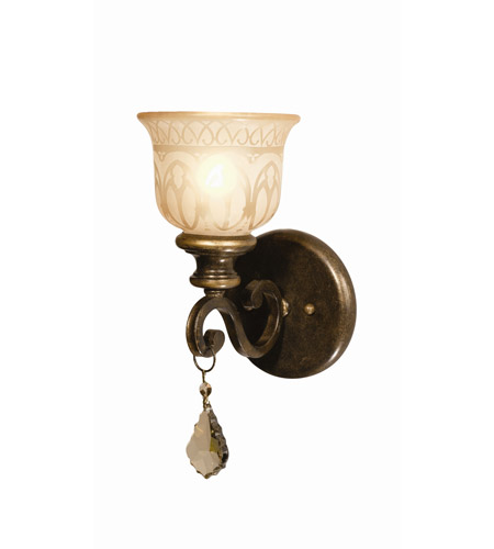 Crystorama Norwalk 1 Light Wall Sconce in Bronze Umber, Golden Teak, Hand Cut 7501-BU-GTR photo