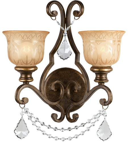 Crystorama 7502-BU-CL-MWP Norwalk 2 Light 16 inch Bronze Umber Wall Sconce Wall Light photo