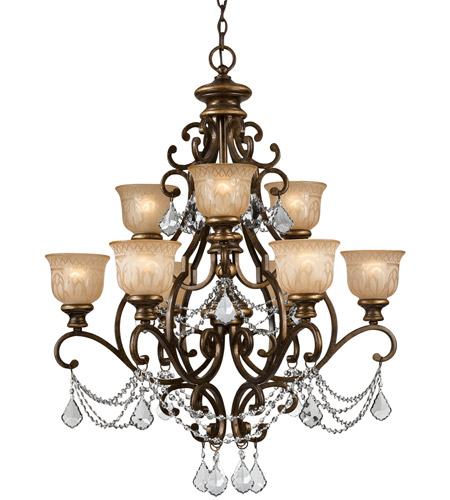 Crystorama 7509-BU-CL-SAQ Norwalk 9 Light 34 inch Bronze Umber Chandelier Ceiling Light photo
