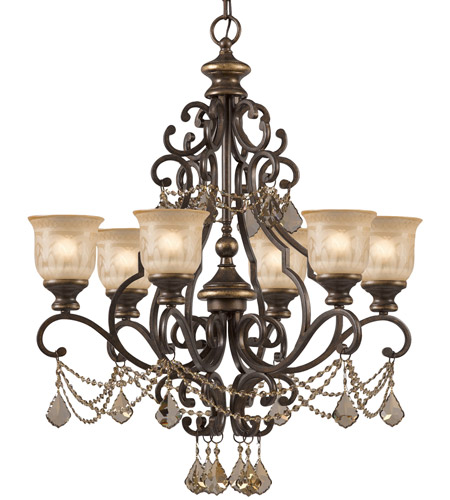 Crystorama 7516-BU-GT-MWP Norwalk 6 Light 28 inch Bronze Umber Chandelier Ceiling Light in Golden Teak Hand Cut photo