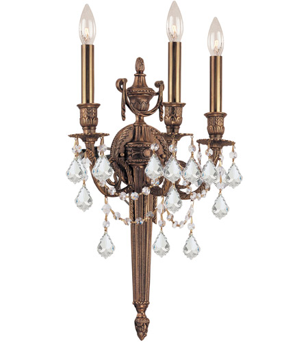 Crystorama Arlington 3 Light Wall Sconce in Matte Brass 753-MB-CL-S photo