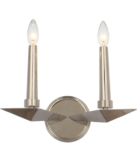 Crystorama 7592-PN Palmer 2 Light 12 inch Polished Nickel Wall Sconce Wall Light photo