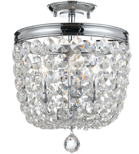 Crystorama 783-CH-CL-SAQ Archer 3 Light 12 inch Polished Chrome Semi Flush Mount Ceiling Light in Swarovski Spectra (SAQ), Polished Chrome (CH) photo