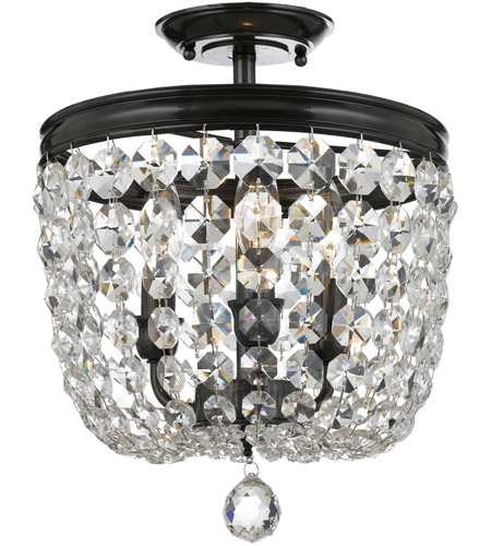 Crystorama 783-VZ-CL-SAQ Archer 3 Light 12 inch Vibrant Bronze Semi Flush Mount Ceiling Light in Swarovski Spectra (SAQ), Vibrant Bronze (VZ) photo