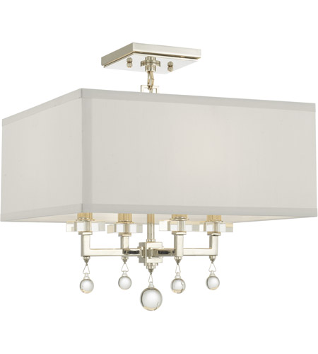 crystorama paxton 4 light 16 inch polished nickel semi flush mount ceiling light