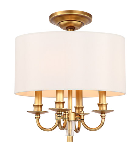 Crystorama 8704-AG_CEILING Lawson 4 Light 15 inch Aged Brass Semi Flush Mount Ceiling Light in Aged Brass (AG) photo