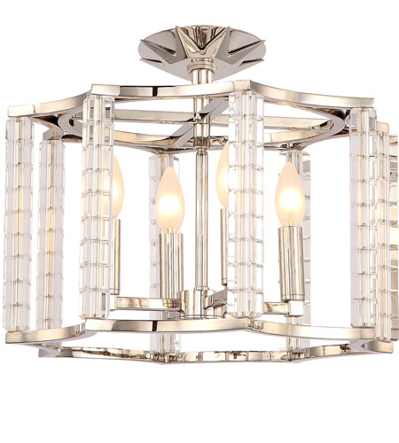 Crystorama 8854-PN_CEILING Carson 4 Light 16 inch Polished Nickel Semi Flush Mount Ceiling Light photo