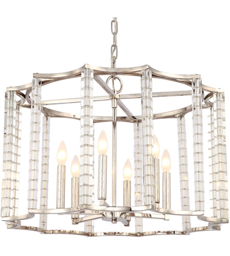 Crystorama 8856-PN Carson 6 Light 28 inch Polished Nickel Chandelier Ceiling Light photo