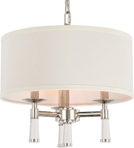 Crystorama 8863-PN Baxter 3 Light 16 inch Polished Nickel Mini Chandelier Ceiling Light in Polished Nickel (PN) photo