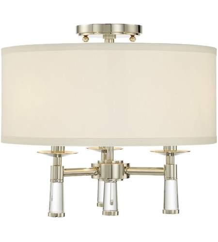 Crystorama 8863-PN_CEILING Baxter 3 Light 16 inch Polished Nickel Semi Flush Mount Ceiling Light in Polished Nickel (PN) photo