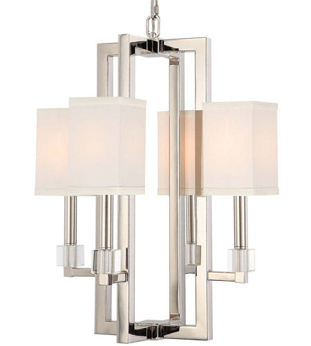 Crystorama 8884-PN Dixon 4 Light 19 inch Polished Nickel Chandelier Ceiling Light photo