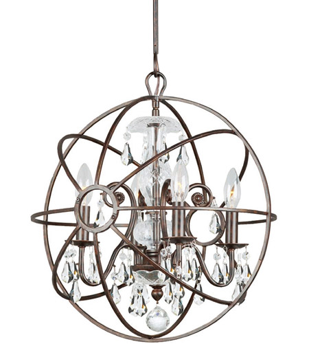Crystorama 9025-EB-CL-MWP Solaris 4 Light 17 inch English Bronze Mini Chandelier Ceiling Light in English Bronze (EB), Clear Hand Cut photo