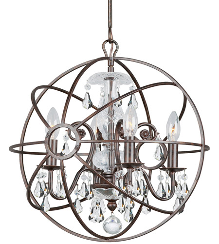 Crystorama 9025-EB-CL-S Solaris 4 Light 17 inch English Bronze Mini Chandelier Ceiling Light in English Bronze (EB), Clear Swarovski Strass photo