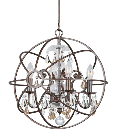 Crystorama 9025-EB-GS-MWP Solaris 4 Light 17 inch English Bronze Mini Chandelier Ceiling Light photo
