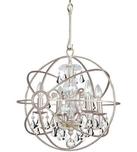 Crystorama 9025-OS-CL-MWP Solaris 4 Light 17 inch Olde Silver Mini Chandelier Ceiling Light in Olde Silver (OS), Clear Hand Cut photo