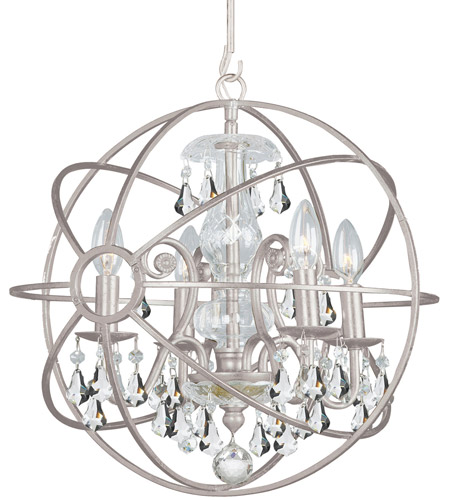 Crystorama 9025-OS-CL-S Solaris 4 Light 17 inch Olde Silver Mini Chandelier Ceiling Light in Olde Silver (OS), Clear Swarovski Strass photo