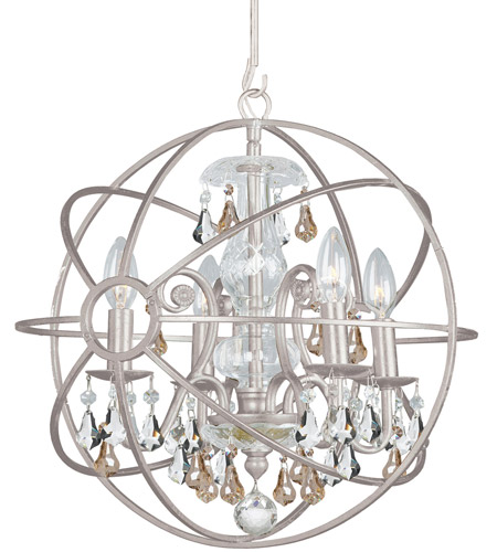 Crystorama 9025-OS-GS-MWP Solaris 4 Light 17 inch Olde Silver Mini Chandelier Ceiling Light photo