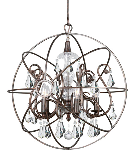 Crystorama 9026-EB-CL-MWP Solaris 5 Light 22 inch English Bronze Chandelier Ceiling Light in English Bronze (EB), Clear Hand Cut photo