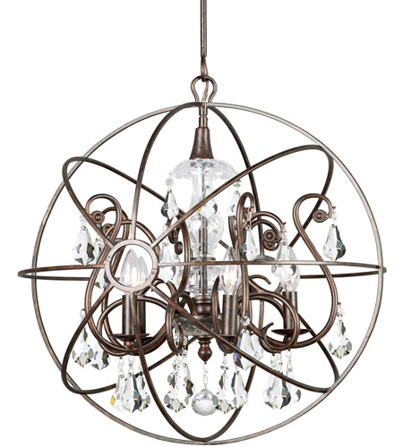 Crystorama 9026-EB-CL-S Solaris 5 Light 22 inch English Bronze Chandelier Ceiling Light in English Bronze (EB), Clear Swarovski Strass photo