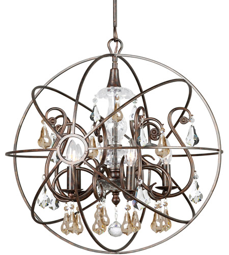 Crystorama 9026-EB-GS-MWP Solaris 5 Light 22 inch English Bronze Chandelier Ceiling Light in Golden Shadow (GS), Hand Cut, English Bronze (EB) photo