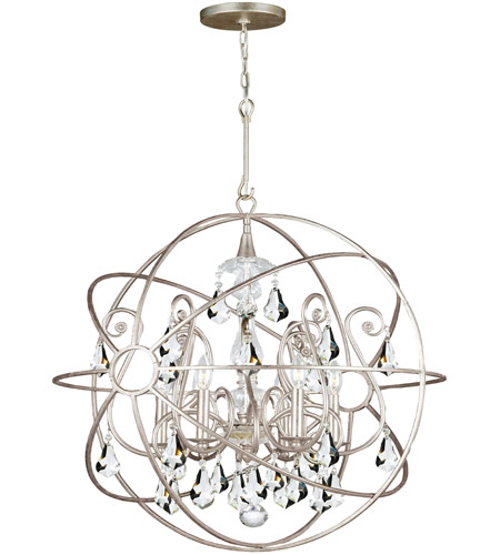 Crystorama 9026-OS-CL-MWP Solaris 5 Light 22 inch Olde Silver Chandelier Ceiling Light in Olde Silver (OS), Clear Hand Cut photo