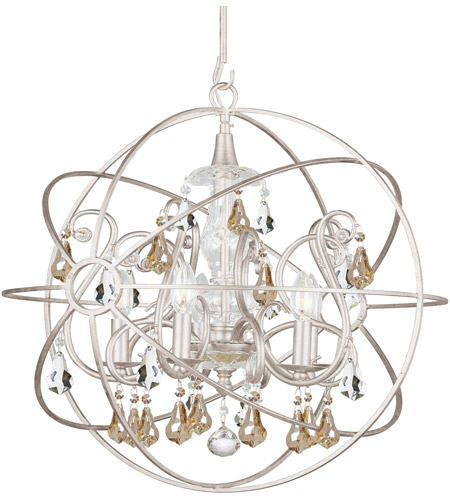 Crystorama 9026-OS-GS-MWP Solaris 5 Light 22 inch Olde Silver Chandelier Ceiling Light photo