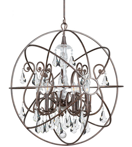 Crystorama 9028-EB-CL-MWP Solaris 6 Light 28 inch English Bronze Chandelier Ceiling Light in English Bronze (EB), Clear Hand Cut photo
