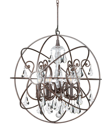 Crystorama 9028-EB-CL-S Solaris 6 Light 28 inch English Bronze Chandelier Ceiling Light in English Bronze (EB), Clear Swarovski Strass photo