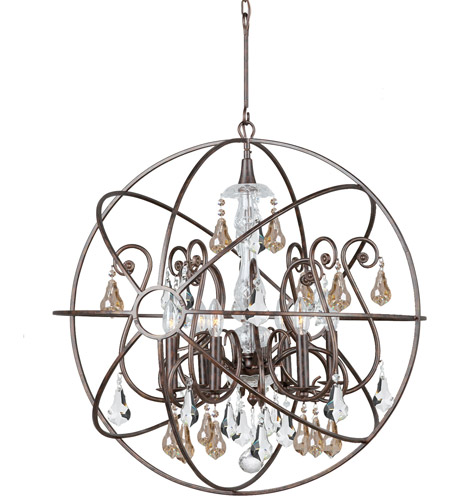 Crystorama 9028-EB-GS-MWP Solaris 6 Light 28 inch English Bronze Chandelier Ceiling Light photo