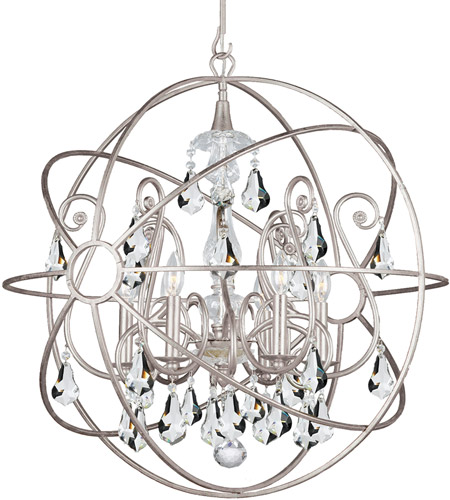 Crystorama 9028-OS-CL-MWP Solaris 6 Light 28 inch Olde Silver Chandelier Ceiling Light in Olde Silver (OS), Clear Hand Cut photo