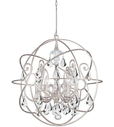 Crystorama 9028-OS-CL-S Solaris 6 Light 28 inch Olde Silver Chandelier Ceiling Light in Olde Silver (OS), Clear Swarovski Strass photo