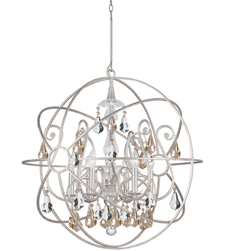 Crystorama 9028-OS-GS-MWP Solaris 6 Light 28 inch Olde Silver Chandelier Ceiling Light in Golden Shadow (GS), Hand Cut, Olde Silver (OS) photo