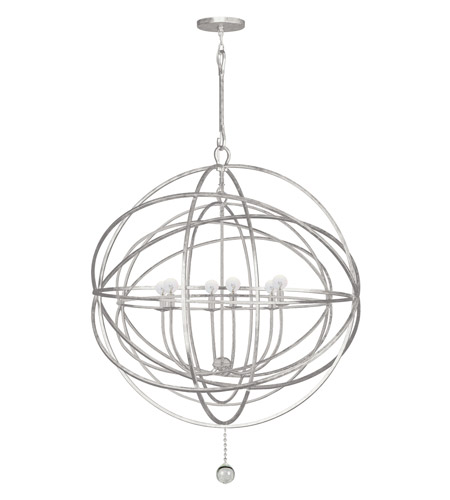 Crystorama Solaris 6 Light Chandelier in Olde Silver 9209-OS photo