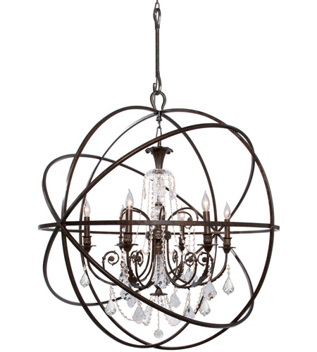 Crystorama 9219-EB-CL-MWP Solaris 6 Light 40 inch English Bronze Chandelier Ceiling Light in English Bronze (EB), Clear Hand Cut photo