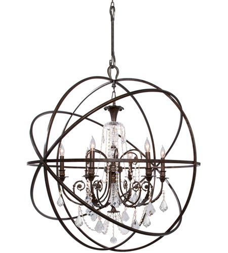 Crystorama Solaris 6 Light Chandelier in English Bronze 9219-EB-CL-S photo