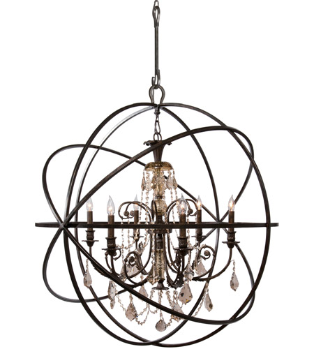 Crystorama Solaris 6 Light Chandelier in English Bronze, Golden Teak, Hand Cut 9219-EB-GT-MWP photo