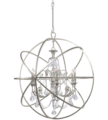 Crystorama 9219-OS-CL-MWP Solaris 6 Light 40 inch Olde Silver Chandelier Ceiling Light in Hand Cut, Olde Silver (OS) photo