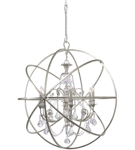 Crystorama Solaris 6 Light Chandelier in Olde Silver 9219-OS-CL-S photo
