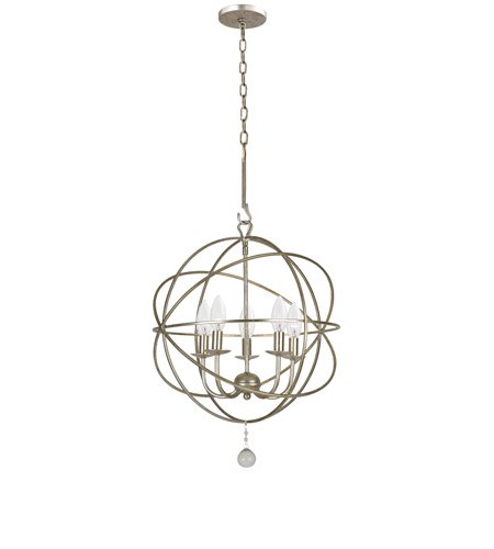 Crystorama 9224-OS Solaris 5 Light 17 inch Olde Silver Mini Chandelier Ceiling Light in Olde Silver (OS) photo