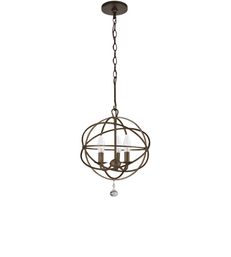Crystorama 9225-EB Solaris 3 Light 13 inch English Bronze Mini Chandelier Ceiling Light in English Bronze (EB), 12.35-in Width photo