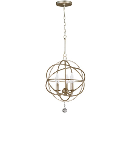 Crystorama 9225-OS Solaris 3 Light 13 inch Olde Silver Mini Chandelier Ceiling Light in Olde Silver (OS), 12.5-in Width photo