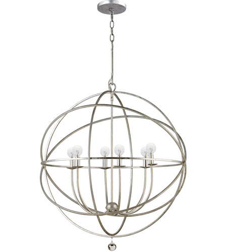 Crystorama Solaris 6 Light Chandelier in Olde Silver 9226-OS photo
