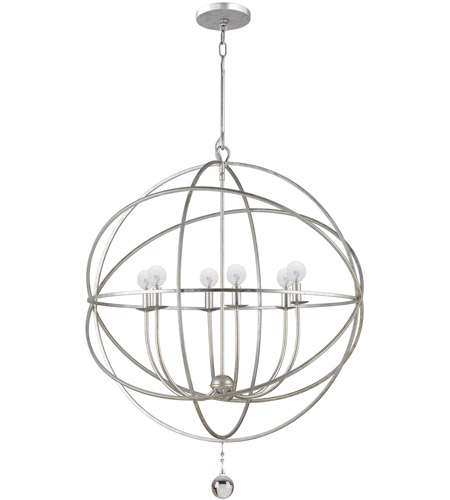 Crystorama Solaris 6 Light Chandelier in Olde Silver 9228-OS photo