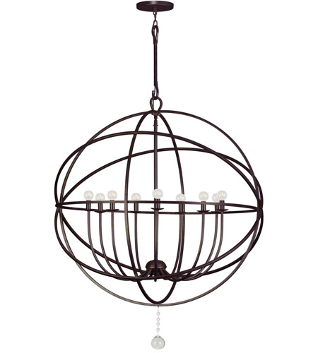 Crystorama Solaris 9 Light Chandelier in English Bronze 9229-EB photo