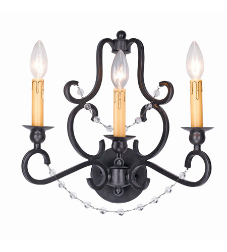 Crystorama Orleans 3 Light Wall Sconce in Black Iron, Hand Cut 9333-BK photo