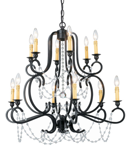 Crystorama Orleans 12 Light Chandelier in Black Iron 9339-BK photo